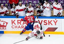 Kristian Forsberg of Norway vs Gaetan Haas of Switzerland during the 2017 IIHF Men's World Championship group B Ice hockey match between National Teams of Norway and Switzerland, on May 7, 2017 in Accorhotels Arena in Paris, France. Photo by Vid Ponikvar / Sportida