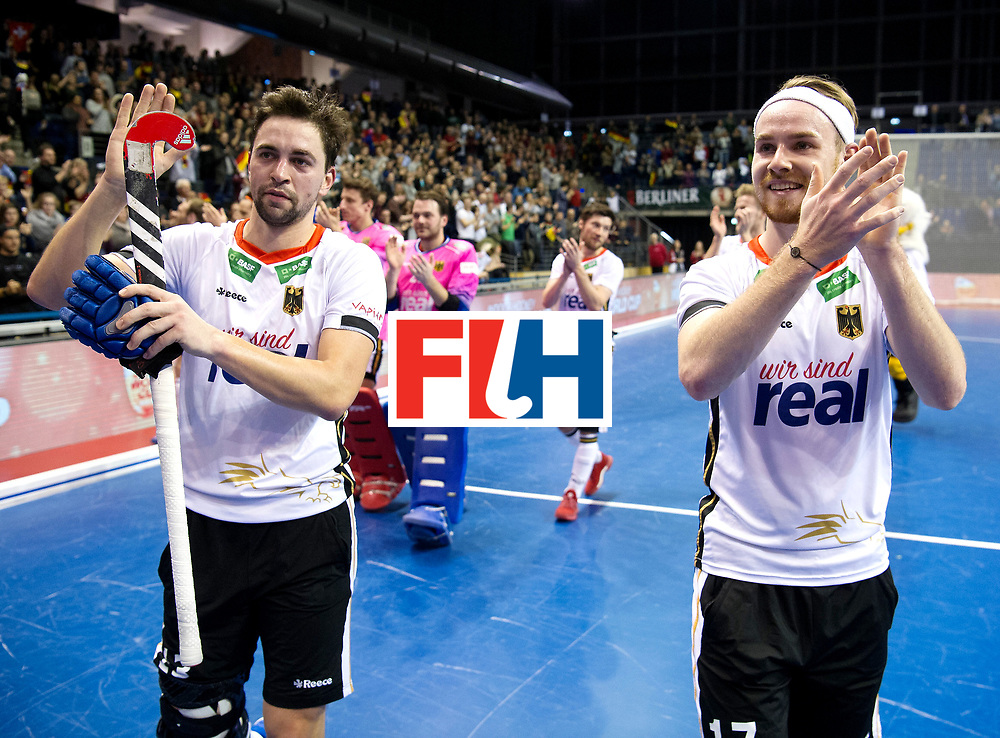 BERLIN - Indoor Hockey World Cup<br /> Quarterfinal 3: Germany - Switzerland<br /> foto: Tobias Hauke and Christopher R&uuml;hr.<br /> WORLDSPORTPICS COPYRIGHT FRANK UIJLENBROEK