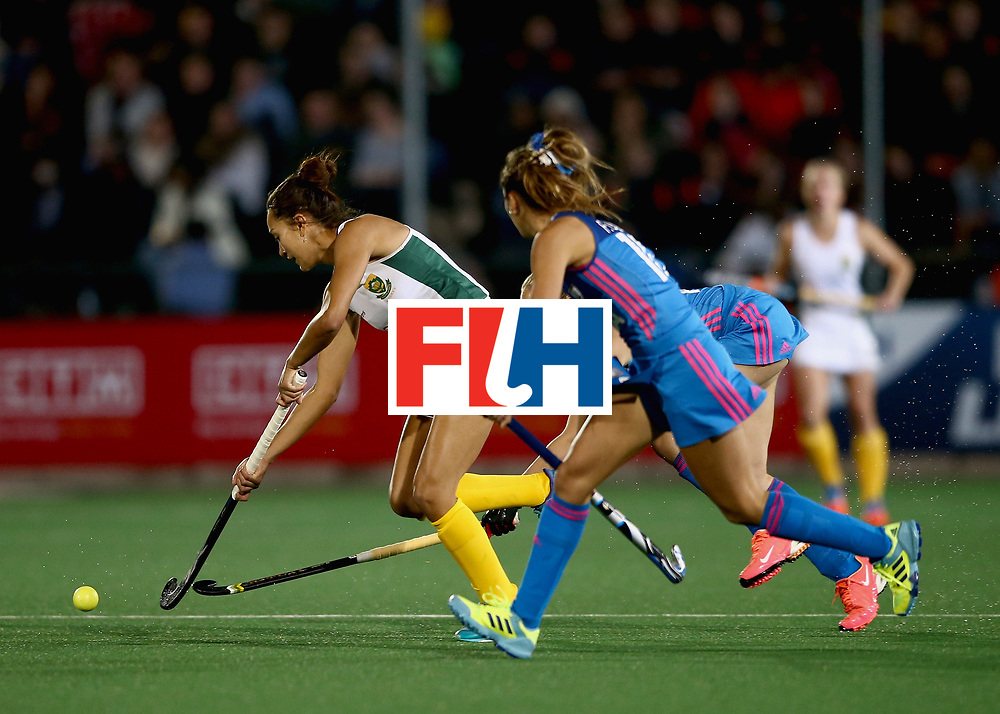 JOHANNESBURG, SOUTH AFRICA - JULY 12: Quanita Bobbs of South Africa takes on the Argentina defence during day 3 of the FIH Hockey World League Semi Finals Pool B match between South Africa and Argentina at Wits University on July 12, 2017 in Johannesburg, South Africa. (Photo by Jan Kruger/Getty Images for FIH)