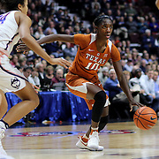 UNCASVILLE, CONNECTICUT- DECEMBER 4: Lashann Higgs #10 of the Texas Longhorns in action during the UConn Huskies Vs Texas Longhorns, NCAA Women's Basketball game in the Jimmy V Classic on December 4th, 2016 at the Mohegan Sun Arena, Uncasville, Connecticut. (Photo by Tim Clayton/Corbis via Getty Images)
