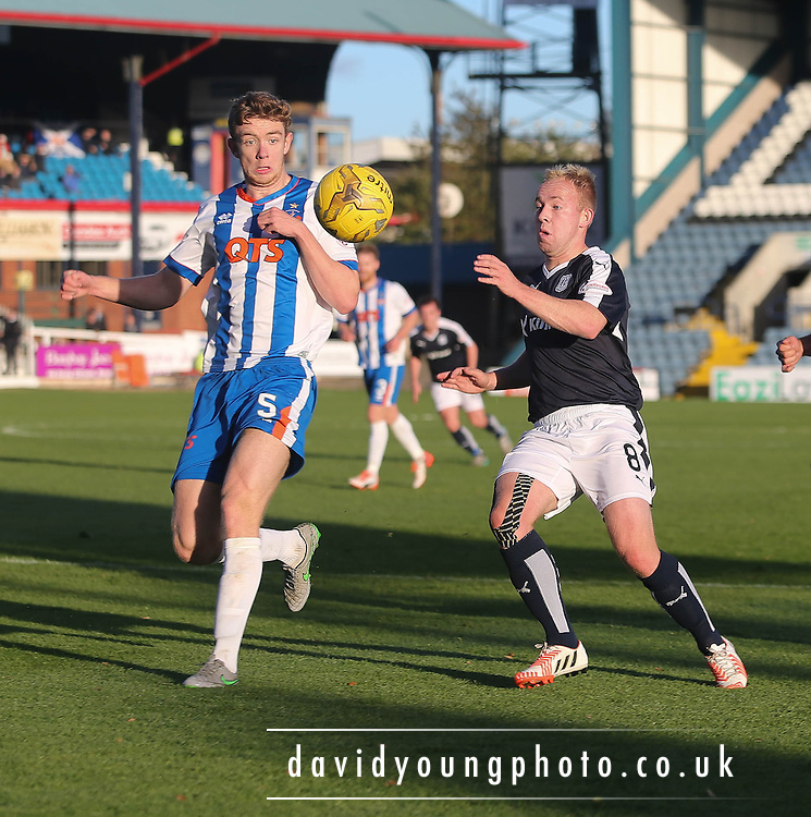 Dundee&rsquo;s Nicky Low and Kilmarnock&rsquo;s Stuart Findlay - Dundee v Kilmarnock, Ladbrokes Premiership at Dens Park <br /> <br />  - &copy; David Young - www.davidyoungphoto.co.uk - email: davidyoungphoto@gmail.com