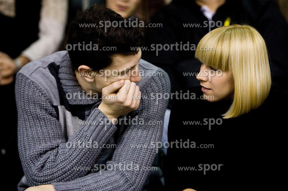 Vlado Ilievski and his wife Anja Vilfan Ilievski at Euroleague basketball match between KK Union Olimpija, Ljubljana and CSKA Moscow, on January 7, 2010 in Arena Tivoli, Ljubljana, Slovenia. CSKA defeated Olimpija 80:77 after overtime. (Photo by Vid Ponikvar / Sportida)