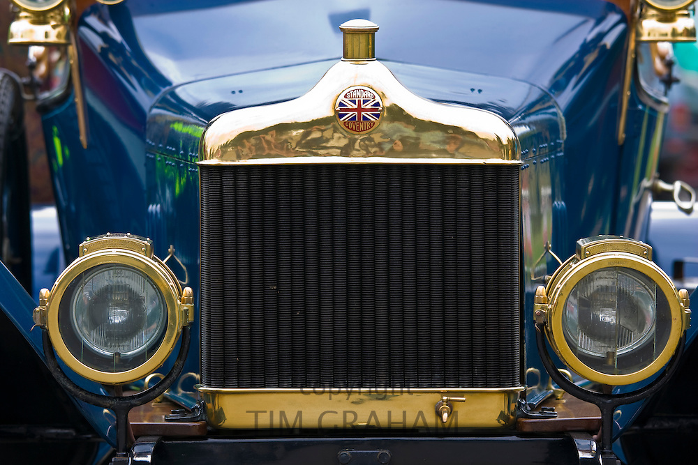Front of vintage Standard car made in Coventry, Gloucestershire, United Kingdom