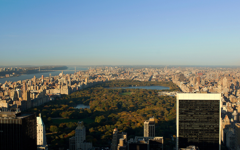 view from Top of the Rock over Central Park, Hudson River and George Washington Bridge, Manhattan, New York, New York, United States of America