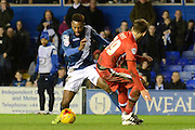Jacques Maghoma sets up to score the opening goal during the Sky Bet Championship match between Birmingham City and Milton Keynes Dons at St Andrews, Birmingham, England on 28 December 2015. Photo by Alan Franklin.