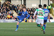 Jake Reeves of AFC Wimbledon takes control in the centre during the Sky Bet League 2 match between AFC Wimbledon and Yeovil Town at the Cherry Red Records Stadium, Kingston, England on 30 January 2016. Photo by Stuart Butcher.