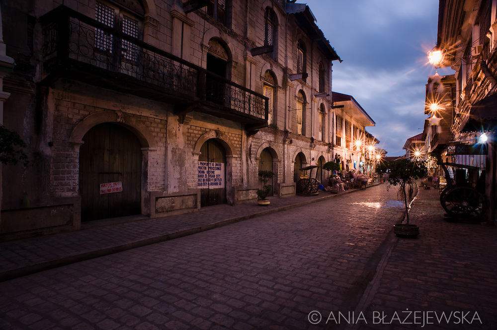 Street of Vigan in the evening.<br />