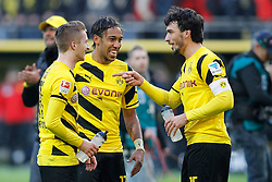28.02.2015, Signal Iduna Park, Dortmund, GER, 1. FBL, Borussia Dortmund vs FC Schalke 04, 23. Runde, im Bild vl: Marco Reus (Borussia Dortmund #11), Pierre-Emerick Aubameyang (Borussia Dortmund #17) und Mats Hummels (Borussia Dortmund #15) // during the German Bundesliga 2rd round match between Borussia Dortmund and FC Schalke 04 at the Signal Iduna Park in Dortmund, Germany on 2015/02/28. EXPA Pictures © 2015, PhotoCredit: EXPA/ Eibner-Pressefoto/ EXPA/ PIXSELL/ Schüler-<br /> <br /> *****ATTENTION - OUT of GER*****
