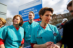 © Licensed to London News Pictures. 06/04/2016. London, UK. Cast of 'Green Wing' sitcom Pippa Haywood, Oliver Chris and Tamsin Greig join junior doctors of Northwick Park Hospital in north London at their picket line as junior doctors in England start the forth 48-hours strike in a dispute over pay, working hours and patient safety on Wednesday, 6 April 2016. Photo credit: Tolga Akmen/LNP