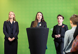 © Licensed to London News Pictures. 06/11/2019. Bristol, UK. General Election 2019; Left-right: SIAN BERRY co-leader of the Green Party, AMELIA WOMACK deputy leader of the Green Party, CARLA DENYER Green parliamentary candidate for Bristol West. The Green Party's national campaign event at We The Curious in Bristol Harbourside on the day of the official start of the general election campaign 2019. The Green Party are targeting the seat of Bristol West where the Labour MP Thangam Debbonaire has a large majority but where the Green candidate came first in the elections for the European Parliament. Photo credit: Simon Chapman/LNP.