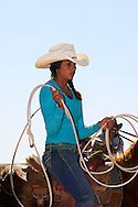 Crow Fair, Indian rodeo, Breakaway Roper, Crow Indian Reservation, Montana, Cheyenne Robinson, Crow