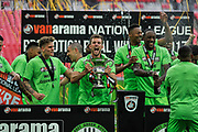 Forest Green Rovers celebrate promotion to the football league with the play off final trophy held by Forest Green Rovers Christian Doidge(9) during the Vanarama National League Play Off Final match between Tranmere Rovers and Forest Green Rovers at Wembley Stadium, London, England on 14 May 2017. Photo by Adam Rivers.