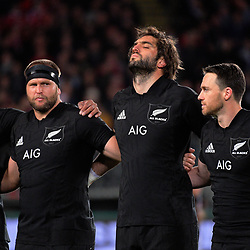 From left, Jerome Kaino, Joe Moody, Sam Whitelock, Ben Smith and Kieran Read line up before during the 2017 DHL Lions Series rugby union match between the NZ All Blacks and British & Irish Lions at Eden Park in Auckland, New Zealand on Saturday, 24 June 2017. Photo: Dave Lintott / lintottphoto.co.nz