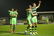 Forest Green Rovers Rhys Murphy (39) and Forest Green Rovers Christian Dioge (9) celebrate the equaliser, 1-1 during the Vanarama National League match between Forest Green Rovers and Eastleigh at the New Lawn, Forest Green, United Kingdom on 13 September 2016. Photo by Shane Healey.