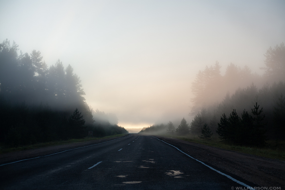 Just after successfully crossing the Russian border with Latvia at dawn, August 9, 2009.