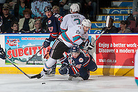 KELOWNA, CANADA - MARCH 5: Tomas Soustal #15 of Kelowna Rockets checks Nick Chyzowski #16 of Kamloops Blazers on March 5, 2016 at Prospera Place in Kelowna, British Columbia, Canada.  (Photo by Marissa Baecker/Shoot the Breeze)  *** Local Caption *** Tomas Soustal; Nick Chyzowski;
