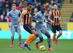 Hull City's Tom Huddlestone competes with Newcastle United's Moussa Sissoko - Photo mandatory by-line: Richard Martin Roberts/JMP - Mobile: 07966 386802 - 31/01/2015 - SPORT - Football - Blackburn - Ewood Park - Blackburn Rovers v Swansea City - FA Cup Fourth Round