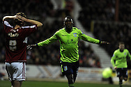 Aston Villa's Christian Benteke celebrates after he scores the opening goal. Capital one cup, 4th round, Swindon Town v Aston Villa at the County Ground in Swindon on Tuesday 30th October 2012. pic by Andrew Orchard, Andrew Orchard sports photography,