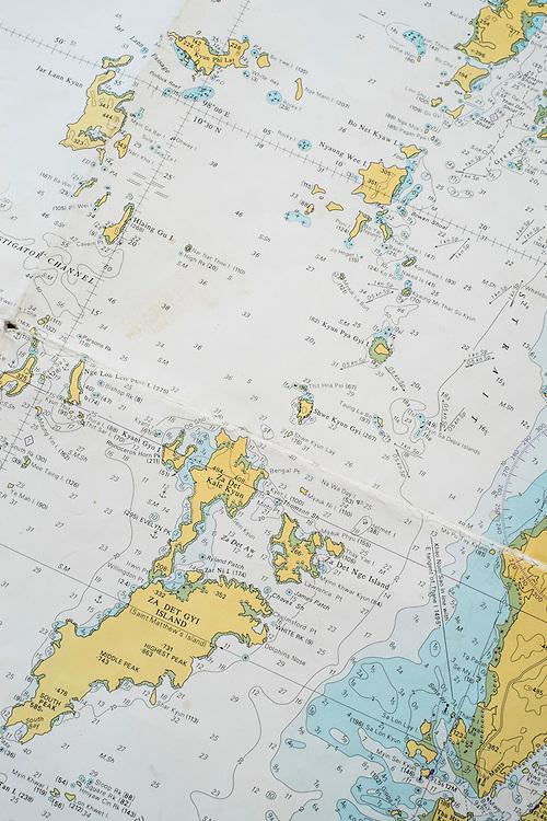Plottting course. Aboard the Meta IV, Mergui Archipelago.