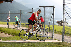 24.07.2015, Sportplatz, Walchsee, AUT, Trainingslager, FC Augsburg, im Bild Raul Bobadilla (FC Augsburg #25) auf dem Fahrrad // during the Trainingscamp of German Bundesliga Club FC Augsburg at the Sportplatz in Walchsee, Austria on 2015/07/24. EXPA Pictures © 2015, PhotoCredit: EXPA/ Eibner-Pressefoto/ Krieger<br /> <br /> *****ATTENTION - OUT of GER*****
