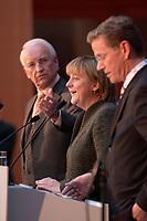 12 NOV 2003, BERLIN/GERMANY:<br /> Edmund Stoiber (L), CSU, Ministerpraesidnet Bayern, Angela Merkel (M), CDU Bundesvorsitzende, und Guido Westerwelle (R), FDP Bundesvorsitzender, waehrend einer Pressekonferenz zu dem vorangegangenen  Spitzentrfffen von Politiker der CDU/CSU und der FDP, axica Kongress- und Tagungszentrum<br /> IMAGE: 20031112-01-021<br /> KEYWORDS: Opposition, Spitzengespraech