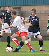 Rhys Weston tackles Gordon Smith - Stirling Albion v Dundee, IRN BRU Scottish League 1st Division, Forthbank Stadium, Stirling<br /> <br />  - © David Young<br /> ---<br /> email: david@davidyoungphoto.co.uk<br /> http://www.davidyoungphoto.co.uk