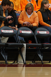 Dec 20, 2011; Stanford CA, USA;  Detailed view of the Tennessee Lady Volunteers bench with seats marked for Tennessee Lady Volunteers head coach Pat Summitt (not pictured) and assistant head coach Holly Warlick (not pictured) before the game against the Stanford Cardinal at Maples Pavilion.  Mandatory Credit: Jason O. Watson-US PRESSWIRE