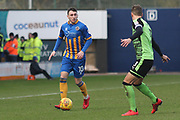 Nathan Thomas of Shrewsbury Town (10) takes on Gary Sawyer of Plymouth Argyle (3) during the EFL Sky Bet League 1 match between Shrewsbury Town and Plymouth Argyle at Greenhous Meadow, Shrewsbury, England on 10 February 2018. Picture by Mick Haynes.