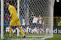 PODGORICA, MONTENEGRO - MARCH 25: England's team celebrate goal during the 2020 UEFA European Championships group A qualifying match between Montenegro and England at Podgorica City Stadium on March 25, 2019 in Podgorica, Montenegro. (MB Media)