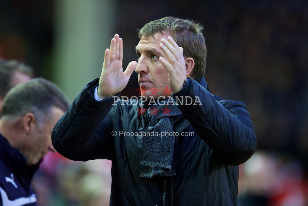 LIVERPOOL, ENGLAND - Thursday, New Year's Day, January 1, 2015: Liverpool's manager Brendan Rodgers before the Premier League match against Leicester City at Anfield. (Pic by David Rawcliffe/Propaganda)