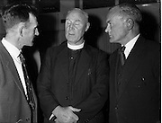 17/05/1962<br /> 05/17/1962<br /> 17 May 1962<br /> St. Brendan's College P.P.U. social function at the Grand Hotel, Malahide, Dublin. Pictured at the Past Pupils Union gathering were (l-r): Mr T.P. O'Connor, Secretary; Bishop J.B. Houlihan, Bishop of Eldoret, Kenya, a past pupil of St. Brendan's and Mr Tom Woulfe, Vice-Chairman.