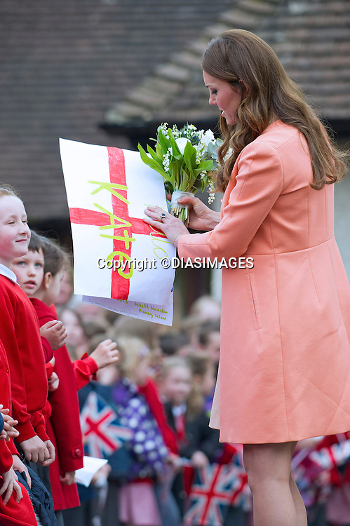 """CATHERINE, DUCHESS OF CAMBRIDGE .visits Naomi House Children's Hospice, Winchester_29/04/2013.Today is the 2nd anniversary of her marriage to Prince William..The Duchess is 7 months into her pregnancy..Mandatory credit photo:©DiasImages/NEWSPIX INTERNATIONAL..**ALL FEES PAYABLE TO: """"NEWSPIX INTERNATIONAL""""**..PHOTO CREDIT MANDATORY!!: NEWSPIX INTERNATIONAL(Failure to credit will incur a surcharge of 100% of reproduction fees)..IMMEDIATE CONFIRMATION OF USAGE REQUIRED:.Newspix International, 31 Chinnery Hill, Bishop's Stortford, ENGLAND CM23 3PS.Tel:+441279 324672  ; Fax: +441279656877.Mobile:  0777568 1153.e-mail: info@newspixinternational.co.uk"""