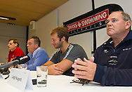 "(L-R) Swiss Swimming National High Performance Director Steffen Liess, Swiss Swimming National Head Coach Guennadi Touretski, swimmer Ian THORPE of Australia and Australian Swimming National Head Coach Leigh Nugent are pictured during a press confercene held at the Centro sportivo nazionale della gioventu (""youth and sports""-Centre) in Tenero, Switzerland, Wednesday, March 16, 2011. Five-time Olympic gold medallist Ian Thorpe has finalised his coaching set-up ahead of next year's London Olympic Games, announcing today that he will link up with former Australian Institute of Sport Coach and Russian born Gennadi Touretski in Switzerland. (Photo by Patrick B. Kraemer / MAGICPBK)"
