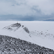 Hut Point during a brief but intense snow squall