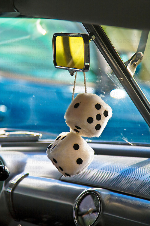 Dice hanging in a car