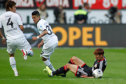 28.09.2013, BayArena, Leverkusen, GER, 1. FBL, Bayer 04 Leverkusen vs Hannover 96, 7. Runde, im Bild Leonnardo Bittencourt #32 (Hannover 96) hat Heung-Min Son #7 (Bayer 04 Leverkusen) gefoult. Aktion, Action // during the German Bundesliga 7th round match between Bayer 04 Leverkusen and Hannover at the BayArena, Leverkusen, Germany on 2013/09/28. EXPA Pictures © 2013, PhotoCredit: EXPA/ Eibner/ Grimme<br /> <br /> ***** ATTENTION - OUT OF GER *****