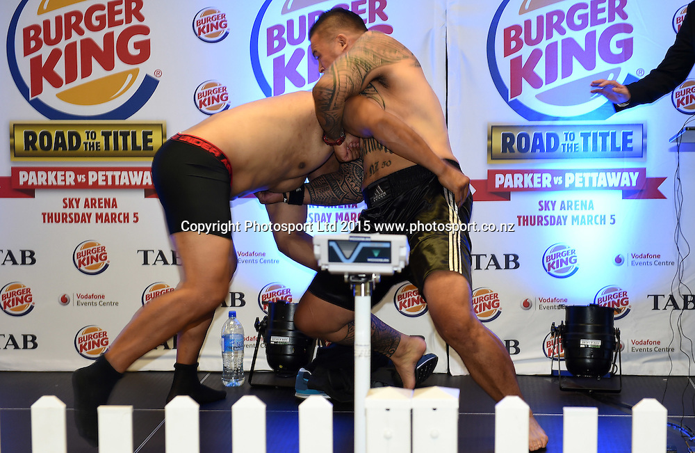 Brown Buttabean v Finau Maka (L) during the official weigh-in. Burger King Road to the Title Boxing by Duco Events. Ellerslie Racecourse, Auckland. New Zealand. Wednesday 4 March 2015. Copyright Photo: Andrew Cornaga / www.photosport.co.nz.