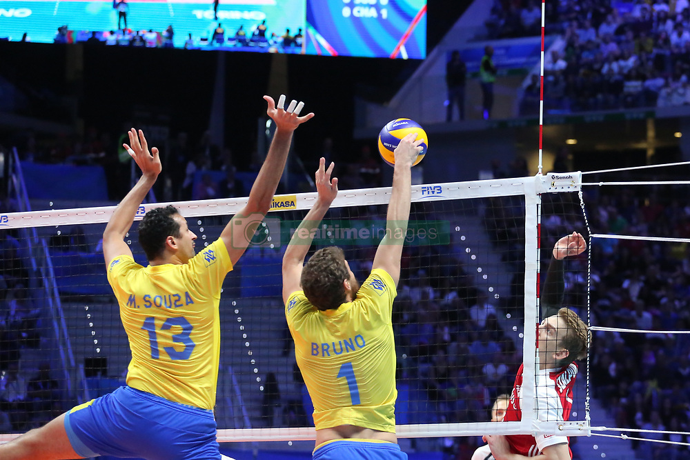 September 30, 2018 - Turin, Piedmont, Italy - Bruno Mossa Rezende (R) and Maurcio Souza (L) of Brazil in action during the final match between Brazil and Poland for the FIVB Men's World Championship 2018 at Pala Alpitour in Turin, Italy, on 30 September 2018. Poland won 3: 0 and it is confirmed world champion. (Credit Image: © Massimiliano Ferraro/NurPhoto/ZUMA Press)
