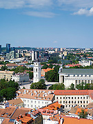 Looking across Vilnius, the Clocktower and Cathedral from the belltower at Vilnius University, in Senamiestyje/Old Town, Vilnius, Lithuania
