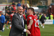 John Coleman, Manager of Accrington Stanley congratulates Billy Kee during the EFL Sky Bet League 2 match between Accrington Stanley and Mansfield Town at the Fraser Eagle Stadium, Accrington, England on 19 August 2017. Photo by John Potts.