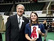 Liz Murphy poses for a picture with Ohio University President Duane Nellis during the 2018 Student Research Expo.