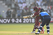 Evin Lewis of West Indies hitting a six during the International Twenty/20 match at Lord's, London<br /> Picture by Simon Dael/Focus Images Ltd 07866 555979<br /> 31/05/2018
