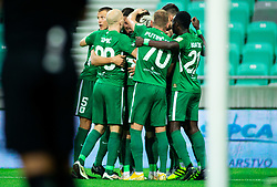 Players of Olimpija celebrate after scoring first goal during football match between NK Olimpija Ljubljana and NK Celje in 3rd Round of Prva liga Telekom Slovenije 2018/19, on Avgust 05, 2018 in SRC Stozice, Ljubljana, Slovenia. Photo by Vid Ponikvar / Sportida
