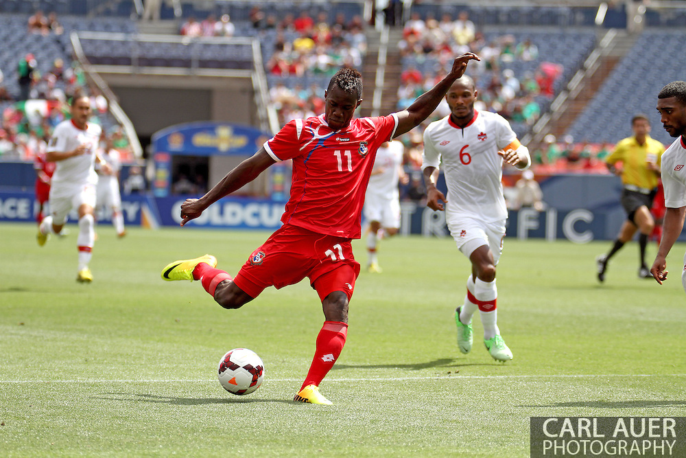 July 14 2013:  Panama Forward Cecilio Waterman (11) attempts a shot during the second half of the CONCACAF Gold Cup soccer match between Panama and Canada at Sports Authority Field in Denver, CO. USA.