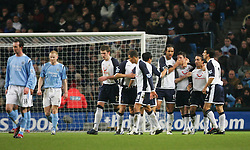 MANCHESTER, ENGLAND - WEDNESDAY, JANUARY 4th, 2006: Tottenham Hotspur's Mido celebrates scoring the opening goal against Manchester City with his team-mates during the Premiership match at the City of Manchester Stadium. (Pic by David Rawcliffe/Propaganda)