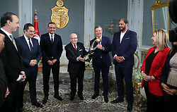 November 10, 2018 - Carthage, Tunisia - The president of the republic Beji Caid Essebsi received at Carthage Palace the delegation of Esperance Sportive de Tunis (EST) after his victory by 3-0 against Al Ahly of Egypt in the final of the League of African CAF Champions Total (Credit Image: © Chokri Mahjoub/ZUMA Wire)