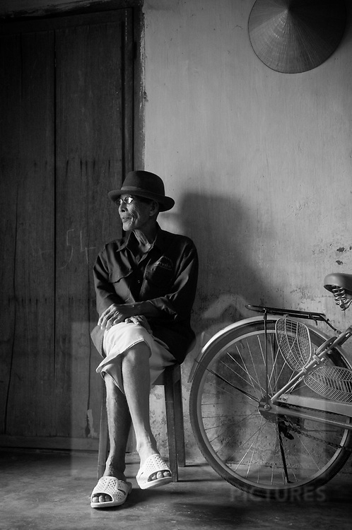 Portraiture of an old vietnamese man in Nha Trang, Vietnam, Asia