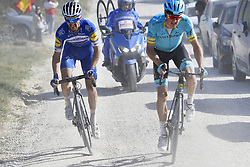 March 9, 2019 - Siena, Italia - Foto LaPresse - Fabio Ferrari.09 Marzo 2019 Siena (Italia).Sport Ciclismo.Strade Bianche 2019 - Gara uomini - da Siena a Siena - 184 km (114,3 miglia).Nella foto: Julian Alaphilippe (Deceuninck - Quick-Step), vincitore, Jakob Fuglsang (Astana Pro Team) ..Photo LaPresse - Fabio Ferrari.March, 09 2019 Siena (Italy) .Sport Cycling.Strade Bianche 2018 - Men's race - from Siena to Siena - 184 km (114,3 miles).In the pic: Julian Alaphilippe (Deceuninck - Quick-Step) , winner, Jakob Fuglsang  (Credit Image: © Fabio Ferrari/Lapresse via ZUMA Press)