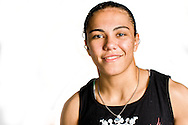 "MANCHESTER, ENGLAND, NOVEMBER 23, 2013: Mixed martial arts athlete Jessica Andrade poses for a portrait following the media open work-out sessions for ""UFC Fight Night 30: Machida vs. Munoz"" inside Bierkeller Shooter's Sports Bar in The Printworks, Manchester (Martin McNeil for ESPN)"