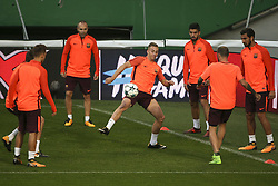September 26, 2017 - Lisbon, Portugal - Barcelona's midfielder Andrés Iniesta, Barcelona's defender Lucas Digne, Barcelona's forward Luis Suárez, Barcelona's midfielder André Gomes, Barcelona's defender Aleix Vidal during the training session at Alvalade stadium in Lisbon,  on September 26, 2017, on the eve of the UEFA Champions League Group D football match Sporting CP vs FC Barcelona. (Photo by Filipe Amorim/NurPhoto) (Credit Image: © Filipe Amorim/NurPhoto via ZUMA Press)